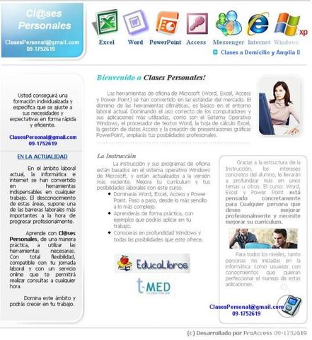 Clases Personalizadas de Microsoft Word,Excel,Access,PowerPoint,Internet,Windows - Internet / Multimedia - Santiago